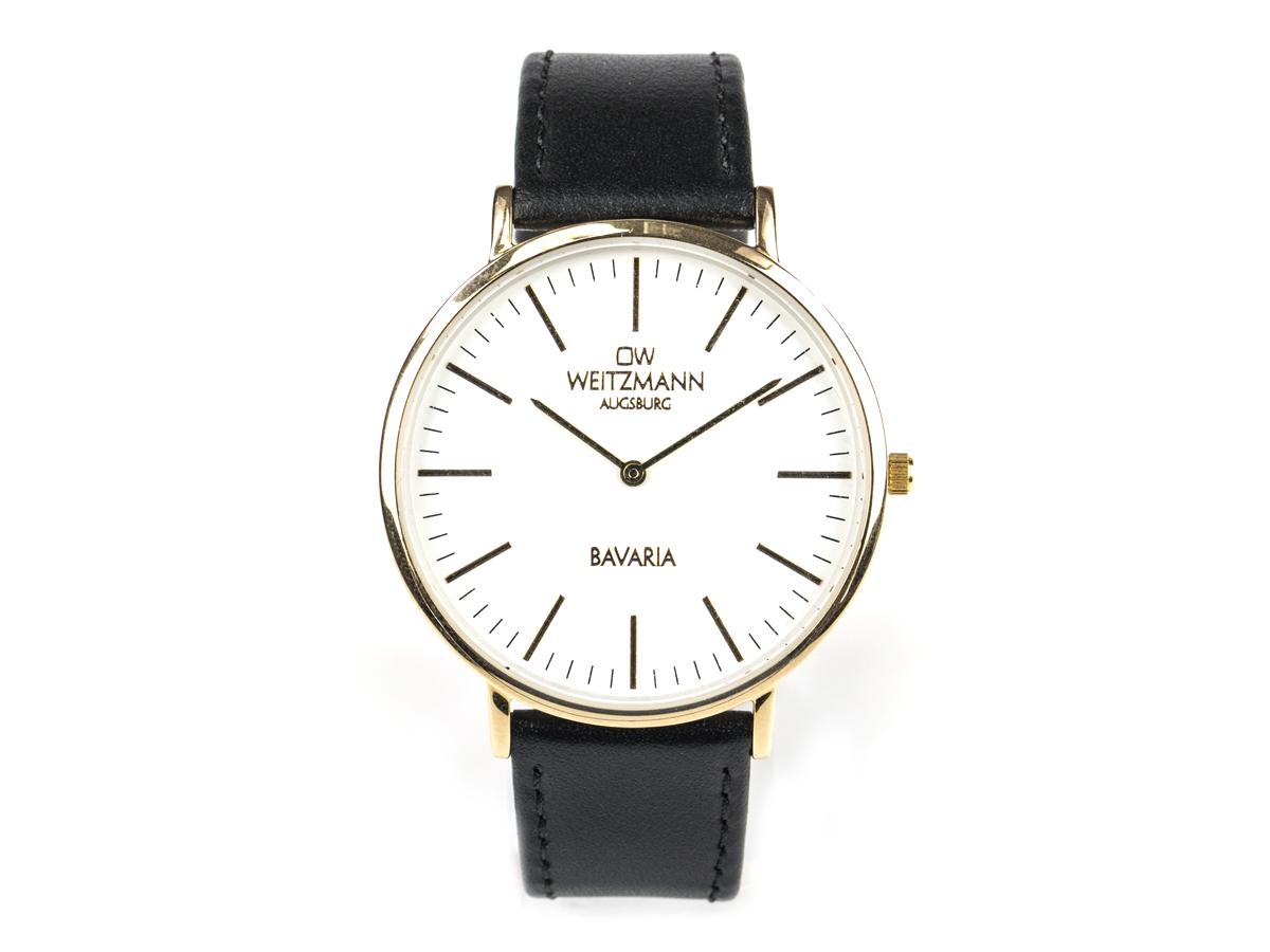 Bavaria Herren, superflache elegante Herren-Uhr, Gehäuse gold, Echtlederband schwarz