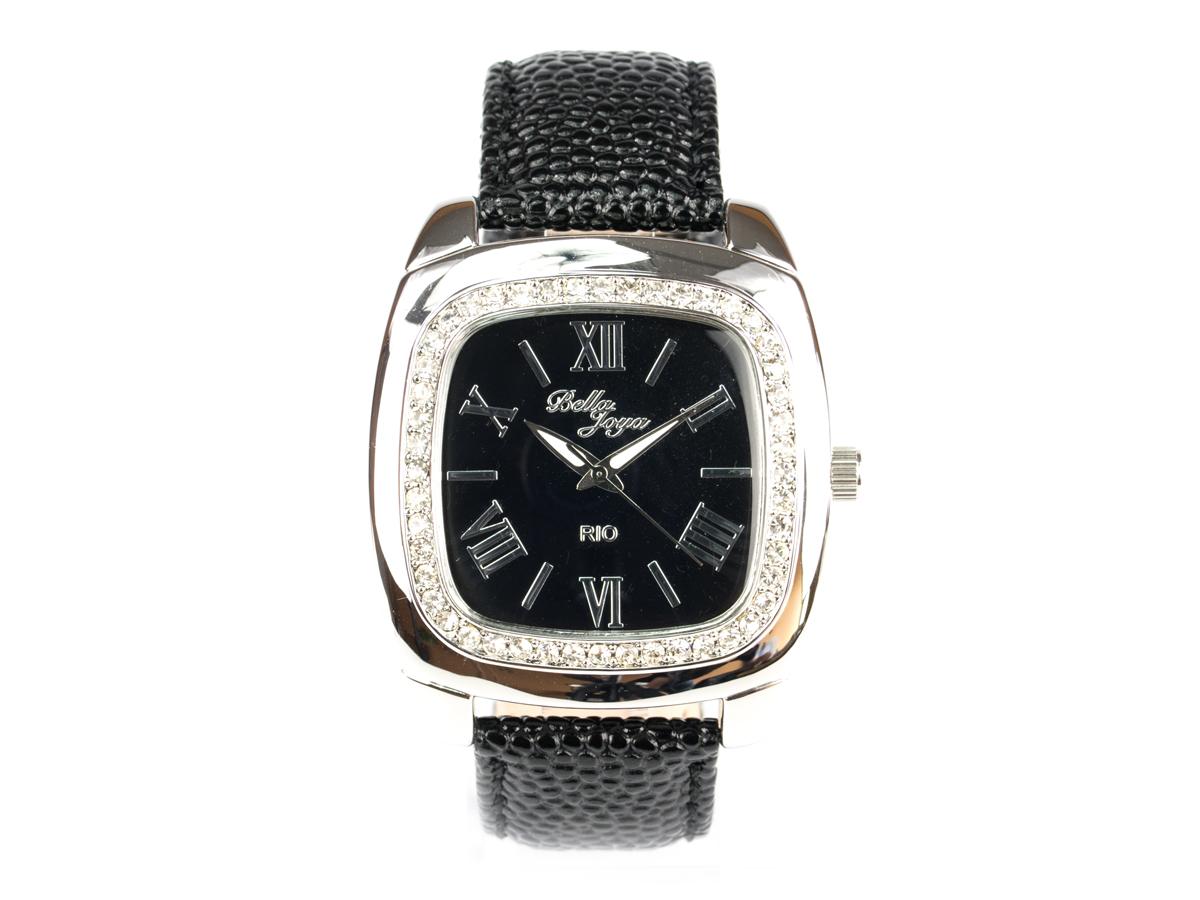 Rio, elegante Trend-Uhr im Retro-Style, Rochen-Struktur-Echtlederband schwarz