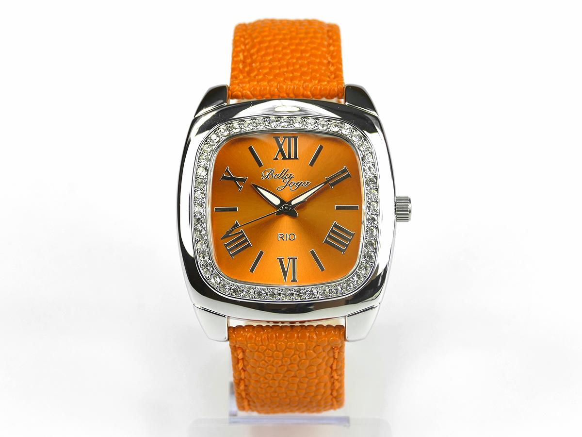 Rio, elegante Trend-Uhr im Retro-Style, Rochen-Struktur-Echtlederband orange