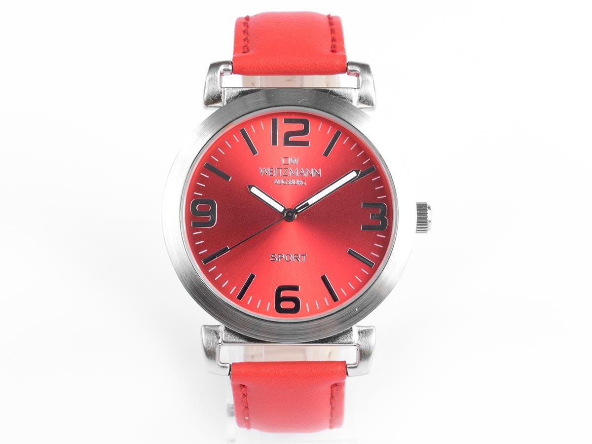 Sport, sportliche Unisex-Armbanduhr rot, mit Echtlederband