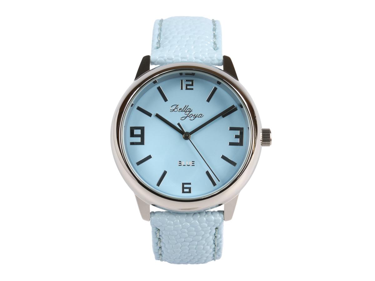 Blue, formschöne Uhr im Retro-Style, Trendfarbe Hellblau, Rochen-Struktur-Echtlederband hellblau