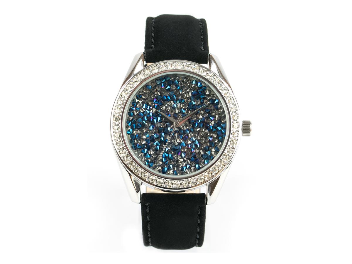 Paris, funkelnde Glamour-Uhr, silbernes Gehäuse, blauem Ziffernblatt, Echtlederband Samteffekt