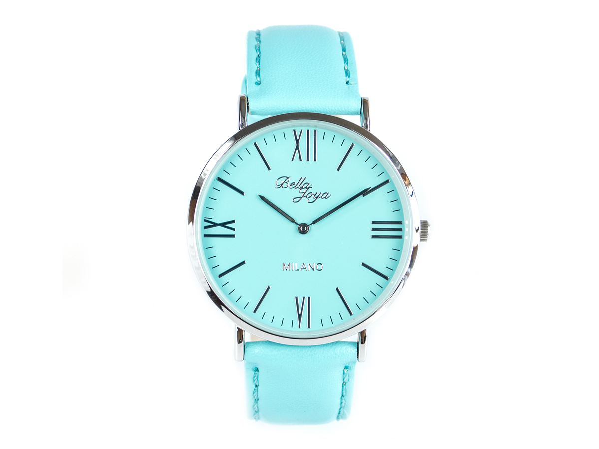 Milano, superflache Fashion-Uhr, Echtlederband mint