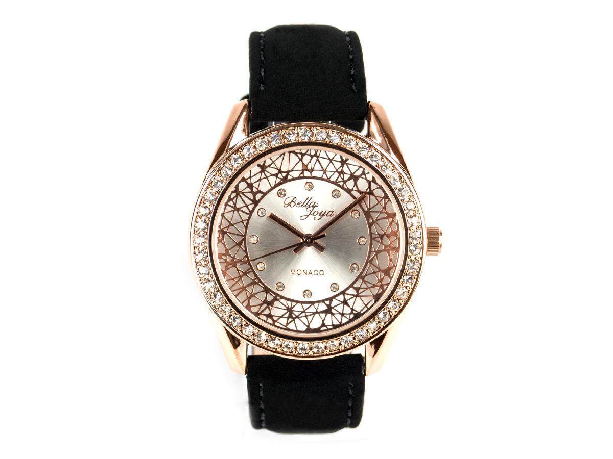 Monaco, edle Damen-Uhr, rotgoldenes Gehäuse,Schmucksteinen, Echtlederband Samteffekt