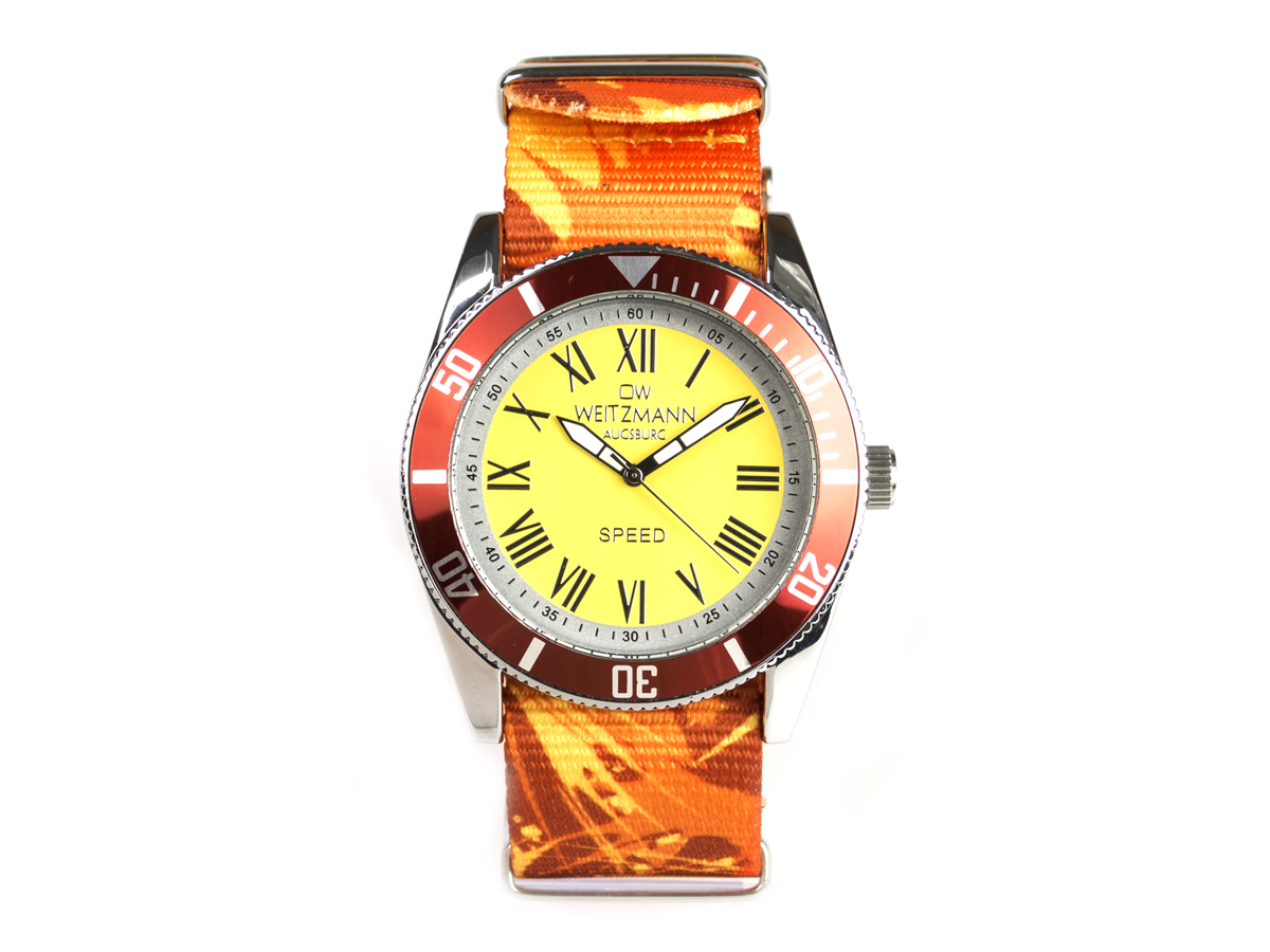 Speed Camouflage, Hippie-Unisex-Uhr, Look gelb
