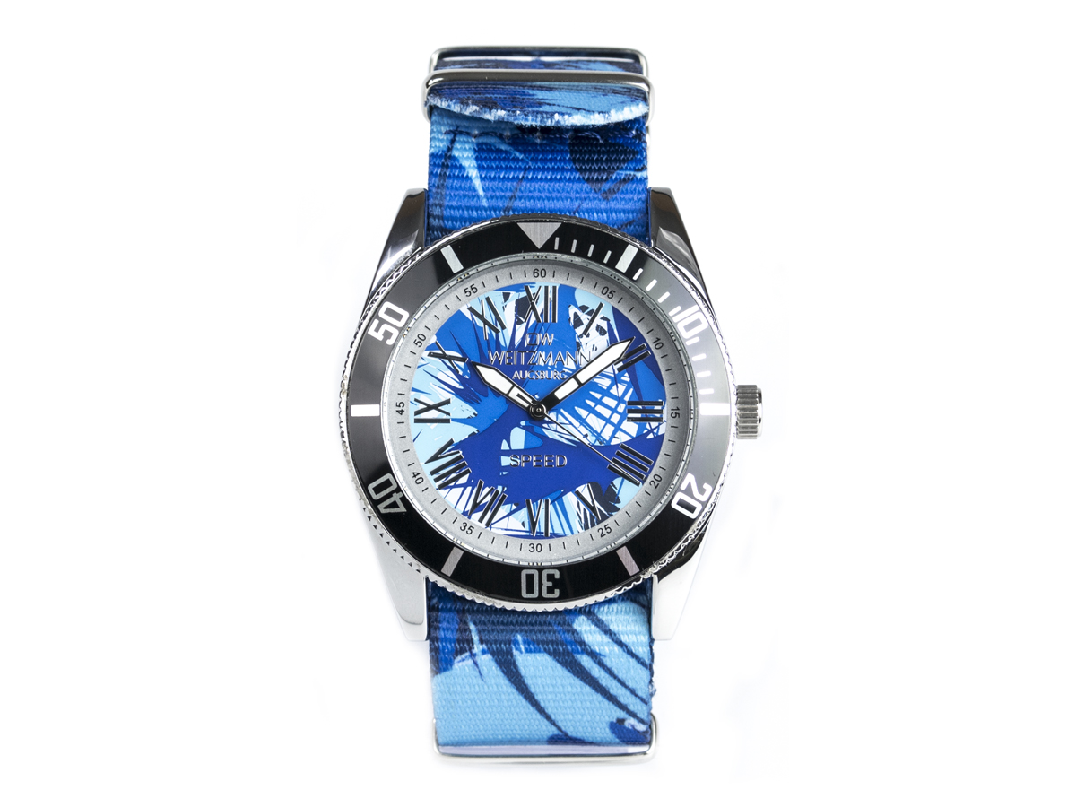 Speed Camouflage, Hippie-Unisex-Uhr, Look blau