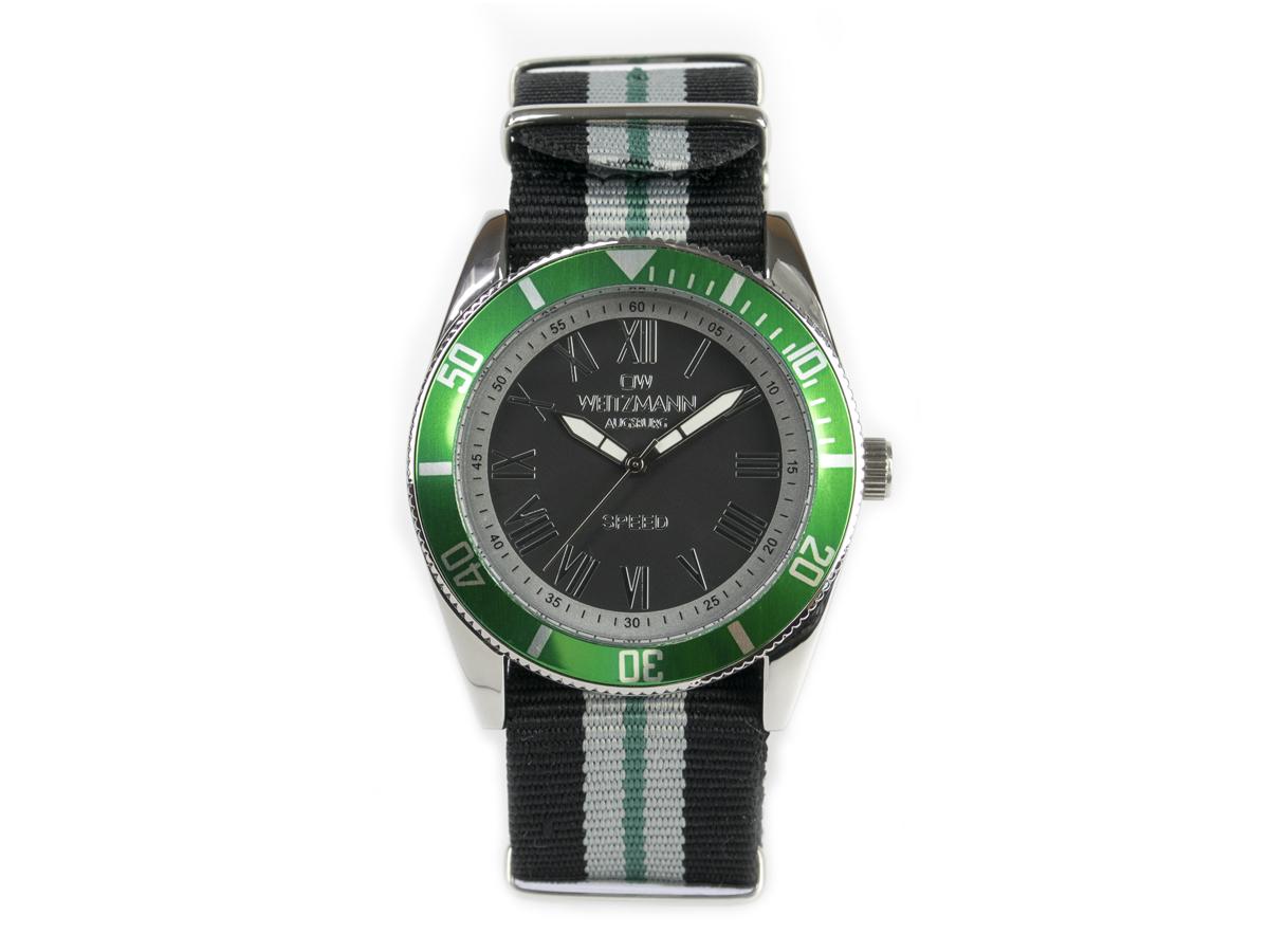 Speed, aktuelle Unisex Armband-Uhr, gestreiftes Natoband, grüne Lünette