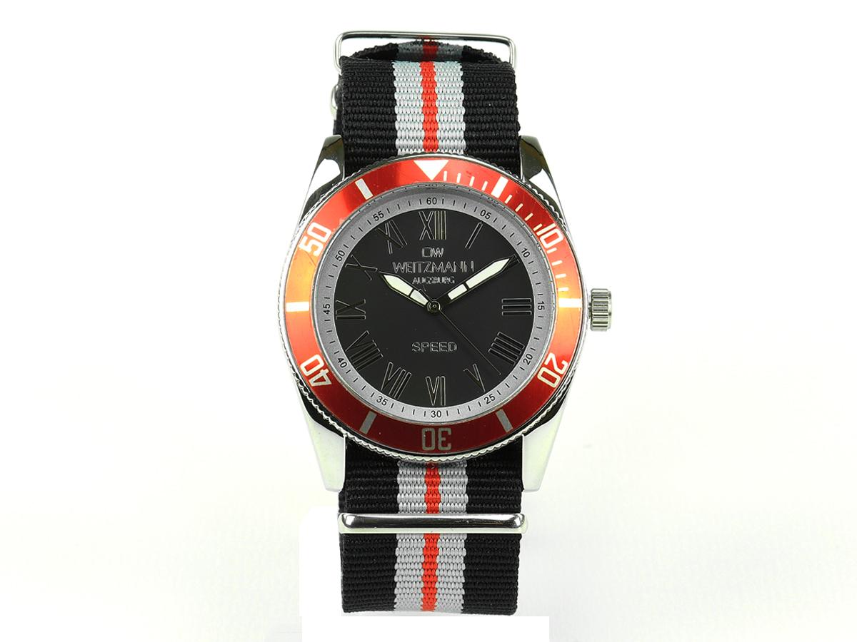 Speed, aktuelle Unisex Armband-Uhr, schwarz-gestreiftes Natoband, rote Lünette