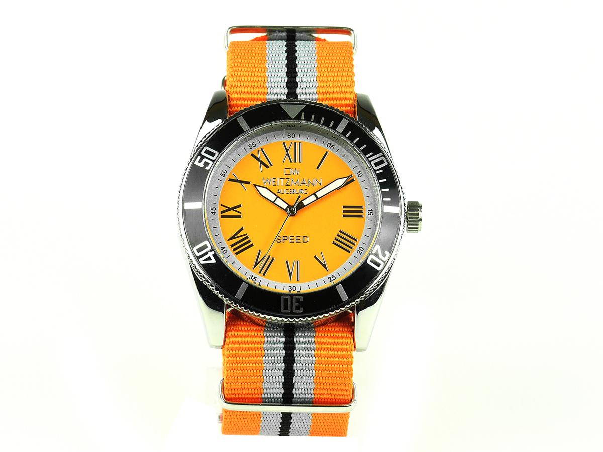 Speed, aktuelle Unisex Armband-Uhr, orange gestreiftes Natoband, schwarze Lünette