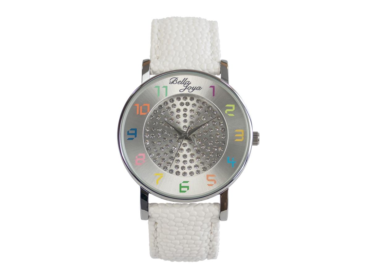 Elba, Young-Fashion-Uhr, Echtlederband weiß