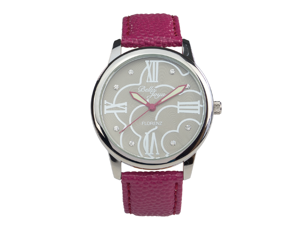 Florenz, modische Damen-Uhr, Echtlederband purpur