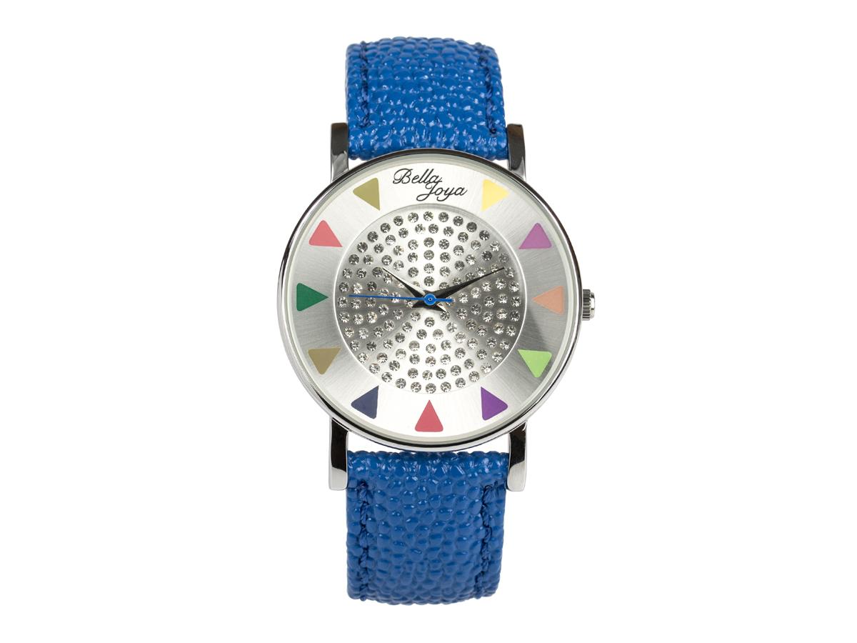 Ibiza silber, stylische Trend-Fashion-Uhr, Echtlederband blau