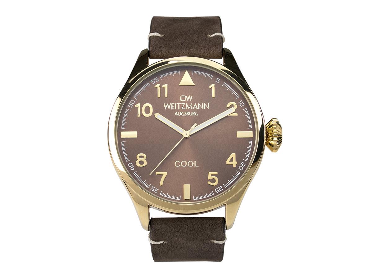Cool, attraktive Trend-Uhr, gold, Echtlederband braun