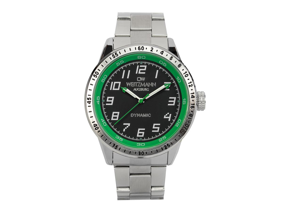Dynamic, sportlich-elegante Herren-Uhr, schwarz/grün, Stahlband
