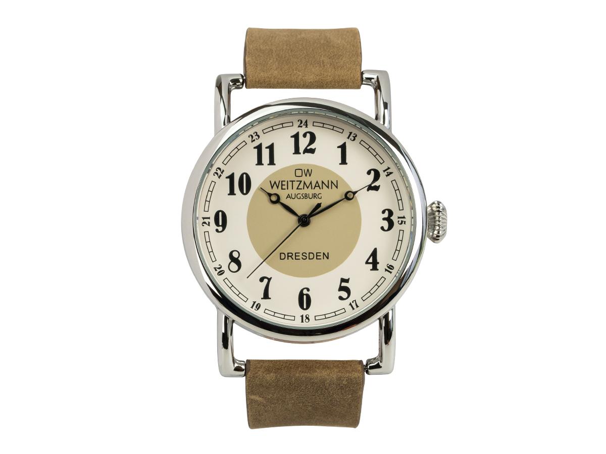Dresden, nostalgische Vintage-Uhr, Echtlederband hellbraun