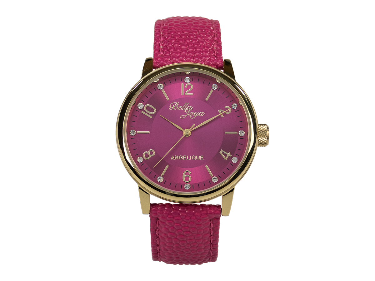 Angelique gold, elegante Mode-Uhr, Echtlederband magenta