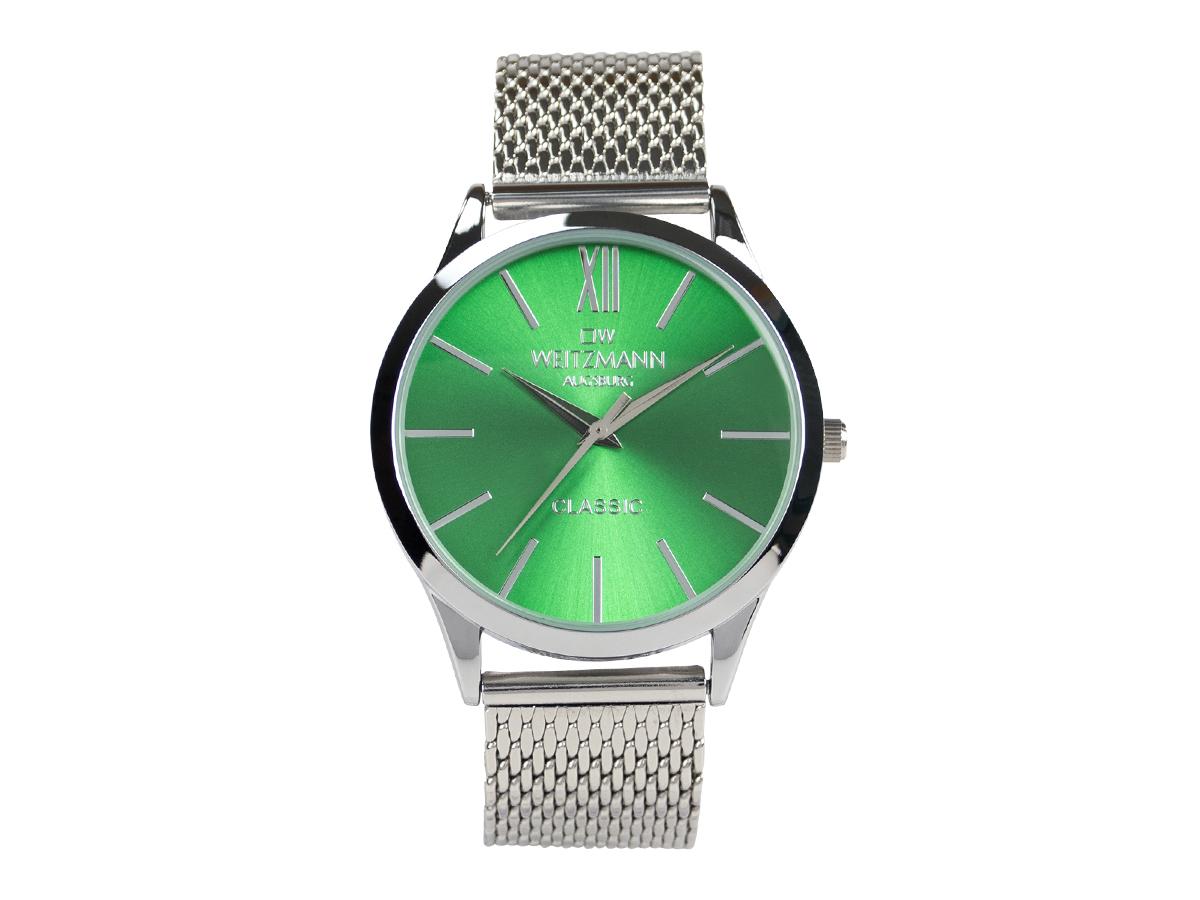 Classic, klassische Herren-Uhr, mit grünem Zifferblatt, Milanaiseband