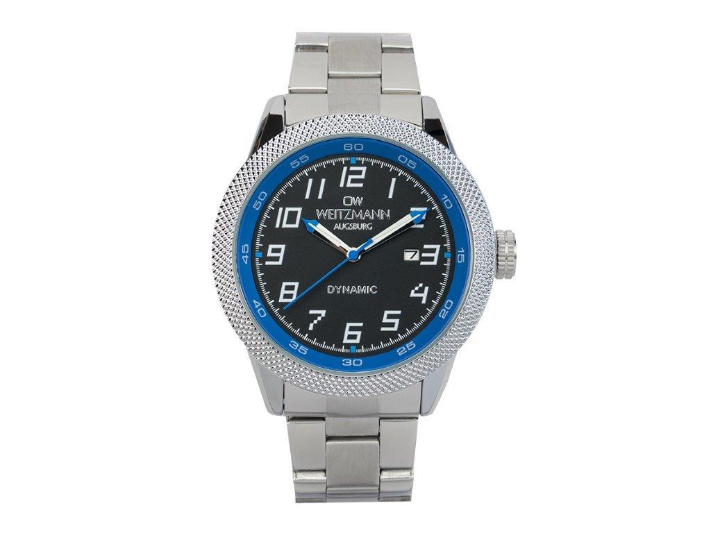 Dynamic, sportlich-elegante Herren-Uhr, schwarz/blau, geriffelte Lünette, Stahlband